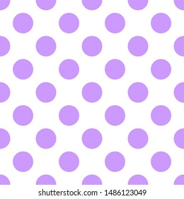 Tile pattern with violet polka dots on white background for seamless decoration wallpaper