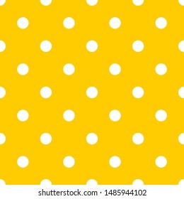 Tile pattern with white polka dots on yellow background