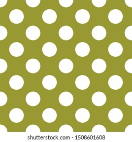 Tile pattern with white polka dots on green background