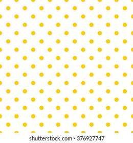 Tile pattern with yellow polka dots on white background