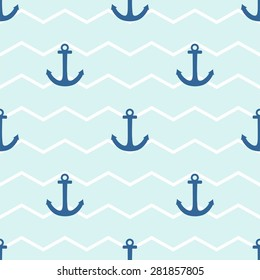 Tile sailor pattern with anchor on white and blue stripes background