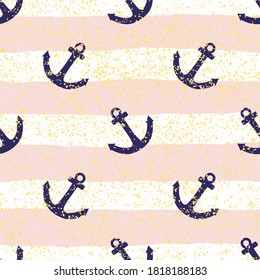 Tile sailor pattern with pink and white stripes, golden dust and blue anchor for seamless decoration wallpaper background
