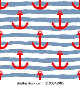 Tile sailor pattern with red anchor on white and blue stripes background