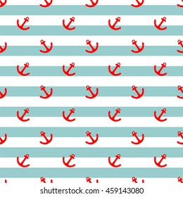 Tile sailor pattern with red anchor and mint green and white stripes background