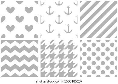 Tile sailor pattern set with grey polka dots, zig zag, hounds tooth, sailor anchor, hearts and stripes on white background for seamless decoration wallpaper
