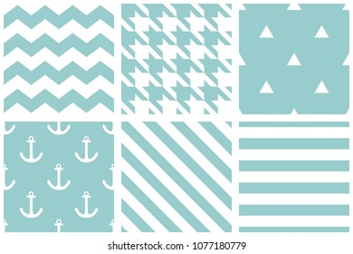 Tile sailor pattern set with houndstooth, zig zag and stripes on blue background