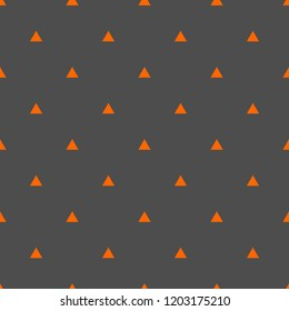 Tile vector pattern with orange triangle  on grey background