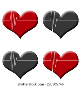 Tileable seamless background heart beat monitor on red and black heart isolated on white.
