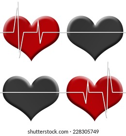 Tileable seamless background heart beat monitor on red heart and flatline on black heart  isolated on white.