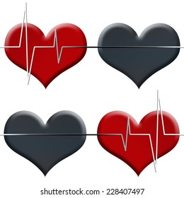 Tileable seamless illustrated background white heart beat monitor on red heart and black flatline on black heart  isolated on white.