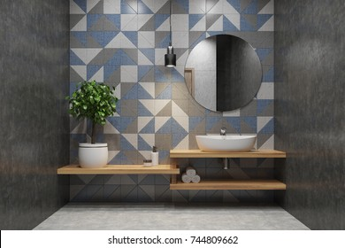 Tiled bathroom interior with a wooden shelf, a sink standing on it, a round mirror and a potted tree in the corner. 3d rendering mock up