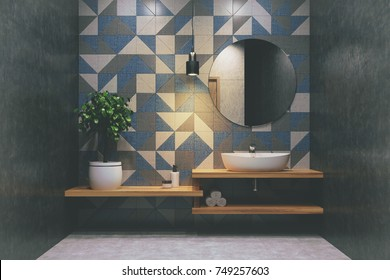 Tiled bathroom interior with a wooden shelf, a sink standing on it, a round mirror and a potted tree in the corner. 3d rendering mock up toned image