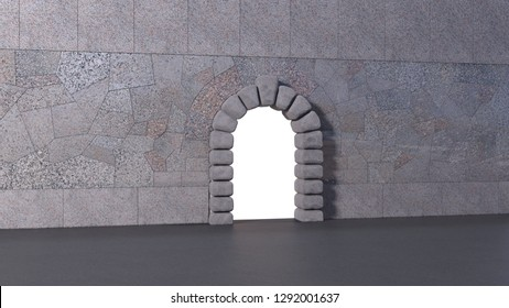Tiled granite wall with cyclopean stone gate and asphalt floor. White isolated opening in horizontal 3d render.