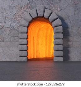 Tiled granite wall with cyclopean stone gate entrance, asphalt floor, and orange light inside the cave. Square 3d render.
