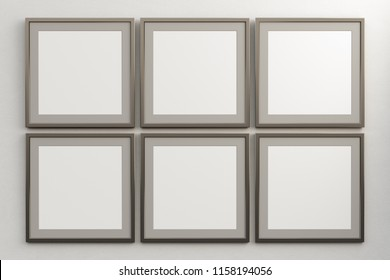 Tiled square frames with blank poster mock up on white wall. Include clipping path around poster. 3d illustration