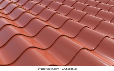Tiles of the roof of the house. 3D rendered illustration.