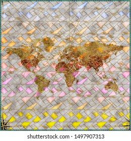 Tiles in the style of multi-colored stained-glass windows. 3d rendering.