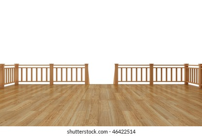 Timber deck isolated on white background