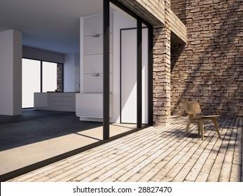 Timber pool deck on modern home terrace (3D render)