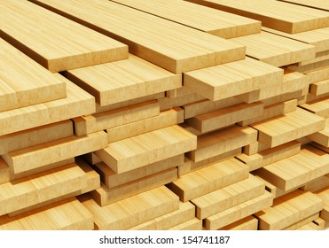 Timberwork, lumber work and woodwork industry concept: macro view of stacks of wooden timber planks