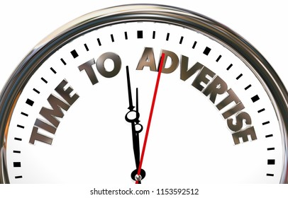 Time to Advertise Marketing Promotion Business Advertising Plan Clock 3d Illustration