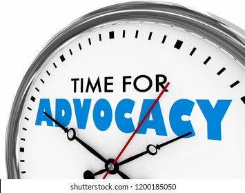 Time for Advocacy Support Defense Clock 3d Illustration