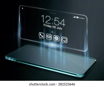 Time and apps on three dimensional smartphone screen. A 3D phone is a mobile phone that conveys depth perception to the viewer by employing stereoscopy or any other form of 3D depth techniques.