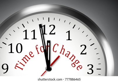 Time for Change NOW clock illustration  motivation background