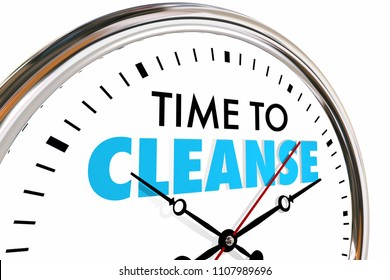 Time to Cleanse Clock Purify Detoxify Words 3d Render Illustration