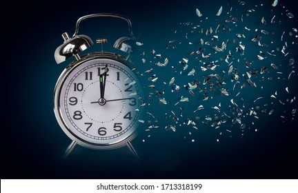 time clock breaking in  flying pieces time pass memory loss future new era feelings   psychology - 3d rendering