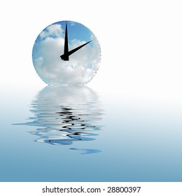 Time concept showing clock face with clouds and reflection