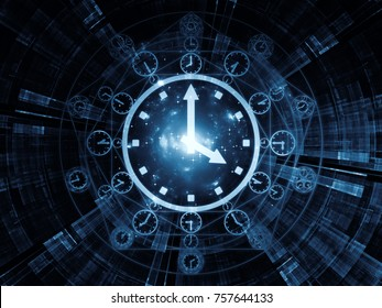 Time Connection series. Abstract composition of time and fractal geometry symbols suitable in projects related to past, future, time travel and modern science