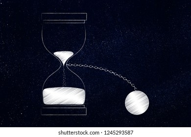 time constraints conceptual illustration: hourglass with ball and chain