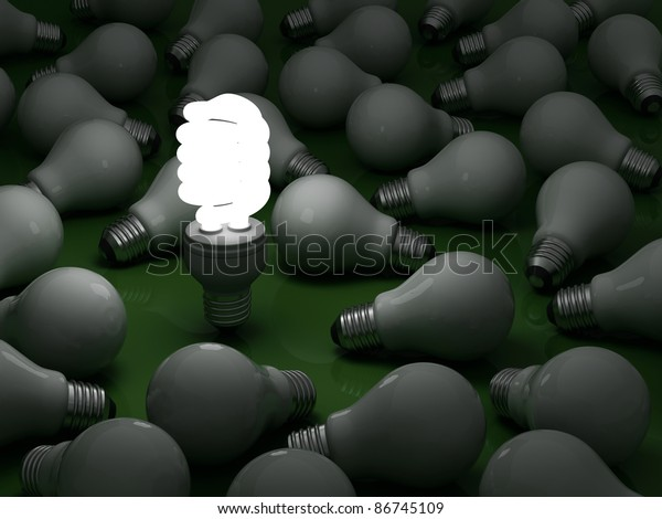 It's time for energy saving light bulb, one glowing compact fluorescent light bulb standing out from the dim incandescent bulbs on green