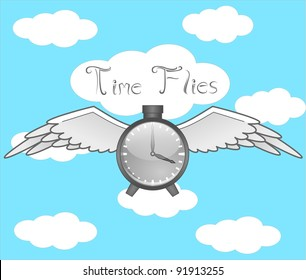 Time Flies  A clock with wings flying in the sky.