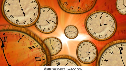 Time flowing on flying clocks in abstract space. Surrealistic concept 3d illustration of time travel.