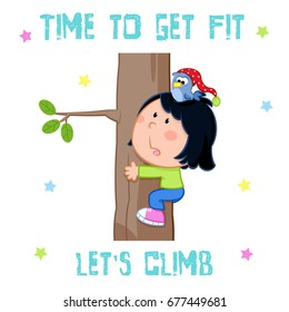 time to get fit - little girl and sports - tree climbing