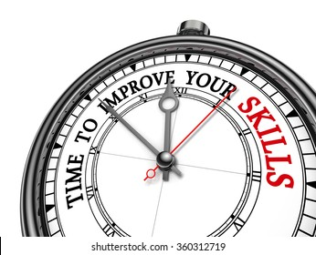 Time to improve your skills motivation message on concept clock, isolated on white background