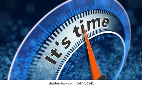 It's time indicator shows, 3D Illustration blue background with particles.