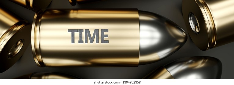 Time as a killer feature, main trait and most important attribute - power of time pictured as a 3d render of a metal bullet with engraved English word, 3d illustration