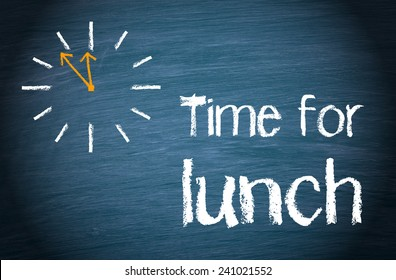 Time for Lunch - blue chalkboard with clock and text