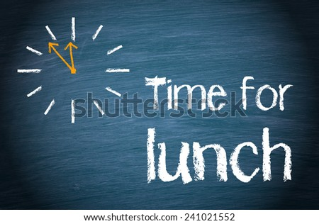 time lunch blue chalkboard clock text stock illustration 241021552