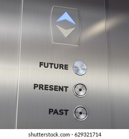 Time machine elevator panel with Future button pushed. 3D illustration