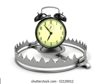 Time management concept. Alarm clock on bear trap.