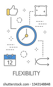 Time management concept. Idea of freelance and flexibility. Flexible work schedule. Line icon set with calendar, pillow and clock Isolated  illustration