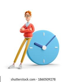 Zeitmanagement-Konzept. Nerd Larry mit großer Uhr. 3D-Abbildung.