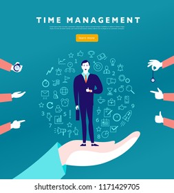 Time management. Flat minimalistic concept with businessman stand, isolated planning organizing icons & human hands. Line art. Business illustration. Web banner, consulting, coaching projects.