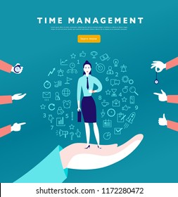 Time management. Flat minimalistic concept with businesslady stand, isolated planning organizing icons & human hands. Line art. Business illustration. Web banner, consulting, coaching projects.