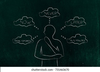 time management and procrastination concept: doubtful man considering if doing things now or never or later