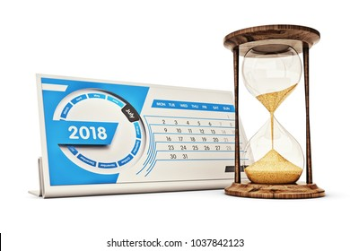 Time management, schedule and deadline concept, hourglass near the desk calendar for 2018 year with page for July month isolated on white background, 3d illustration